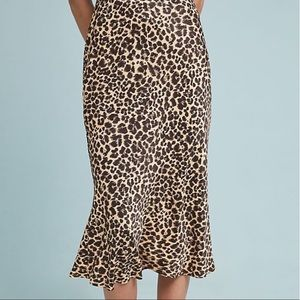 Anthropologie Bias Satin Cheetah Midi Skirt Size 2